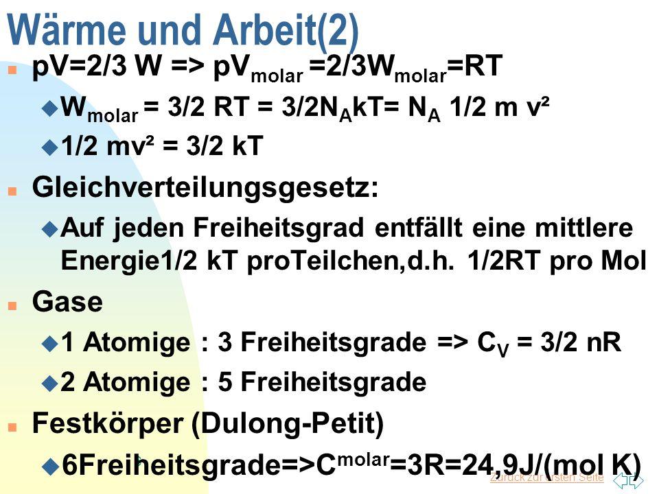 Zurück zur ersten Seite 6 Wärme und Arbeit(2) pV=2/3 W => pV molar =2/3W molar =RT W molar = 3/2 RT = 3/2N A kT= N A 1/2 m v² 1/2 mv² = 3/2 kT Gleichv