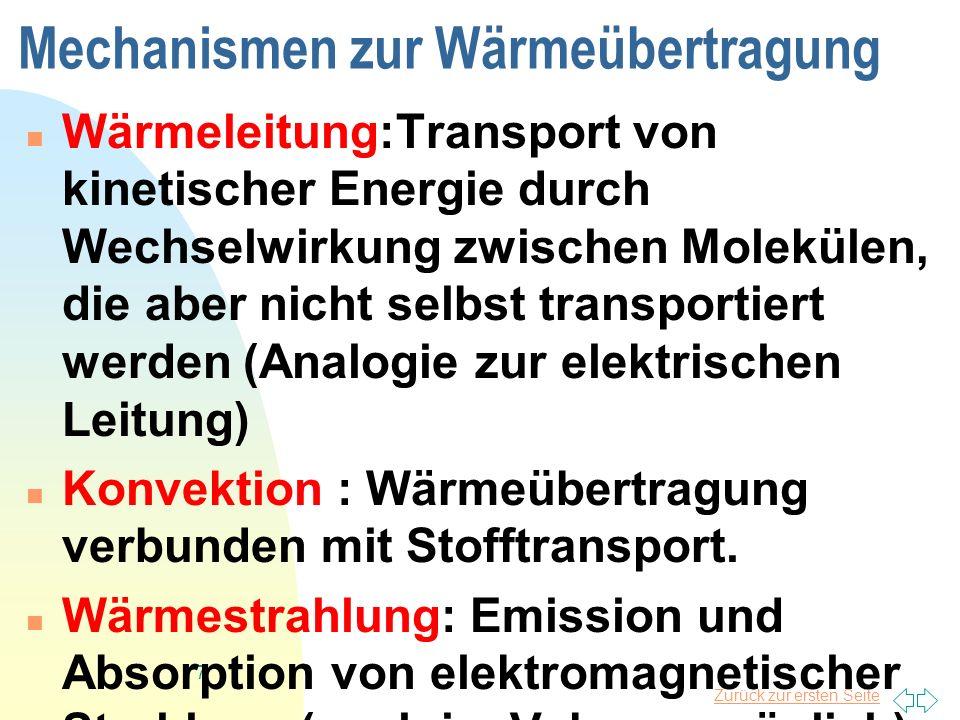 Zurück zur ersten Seite 7 Mechanismen zur Wärmeübertragung Wärmeleitung:Transport von kinetischer Energie durch Wechselwirkung zwischen Molekülen, die