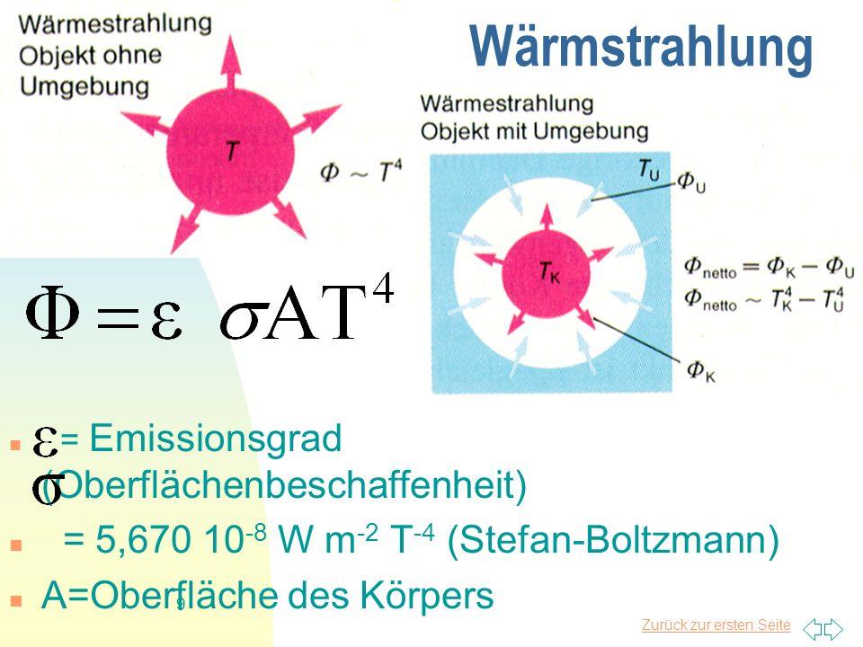 Zurück zur ersten Seite 9 Wärmstrahlung = Emissionsgrad (Oberflächenbeschaffenheit) = 5,670 10 -8 W m -2 T -4 (Stefan-Boltzmann) A=Oberfläche des Körp