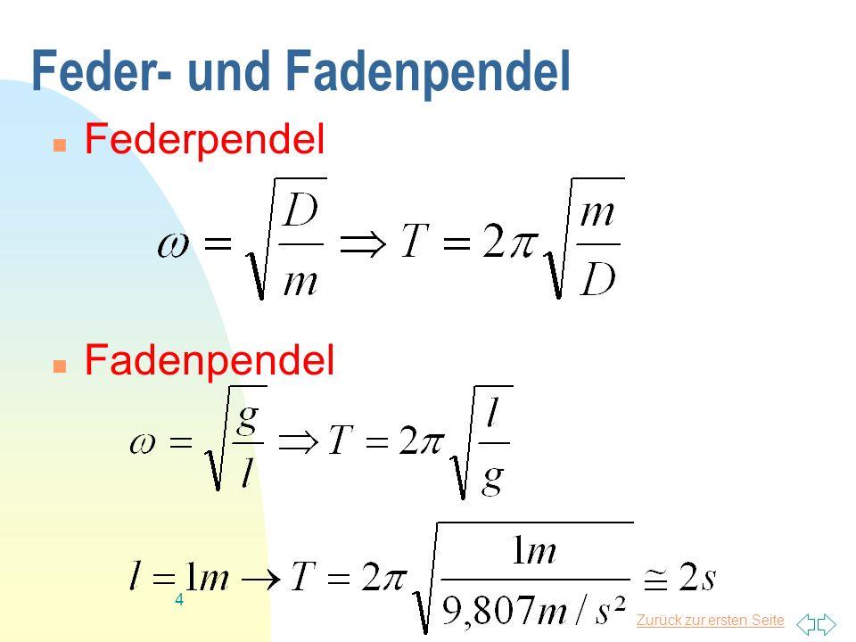 Zurück zur ersten Seite 4 Feder- und Fadenpendel Federpendel Fadenpendel