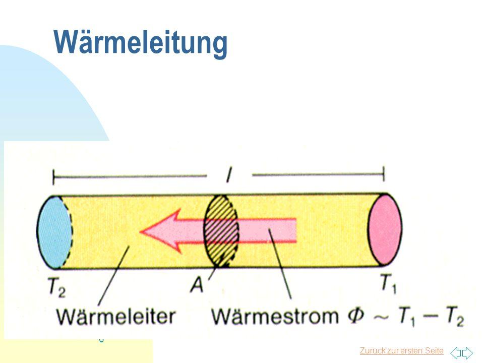 Zurück zur ersten Seite 7 Wärmstrahlung = Emissionsgrad (Oberflächenbeschaffenheit) = 5,670 10 -8 W m -2 T -4 (Stefan-Boltzmann) A=Oberfläche des Körpers