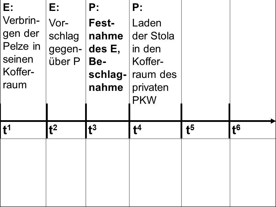 E: Verbrin- gen der Pelze in seinen Koffer- raum E: Vor- schlag gegen- über P P: Fest- nahme des E, Be- schlag- nahme P: Laden der Stola in den Koffer- raum des privaten PKW P: Auffor- dern des E zur Unter- schrift/ Zuzwin- kern E: Unter- schrift unter das Proto- koll 242 243 123 303 185239 t 1 t 2 t 3 t 4 t 5 t 6