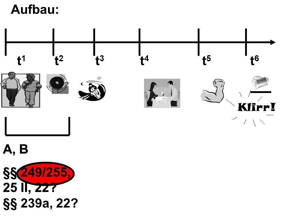 Aufbau: Klirr! t 1 t 2 t 3 t 4 t 5 t 6 A, B §§ 249/255, 25 II, 22? A, B §§ 249/255, 25 II, 22? §§ 239a, 22?
