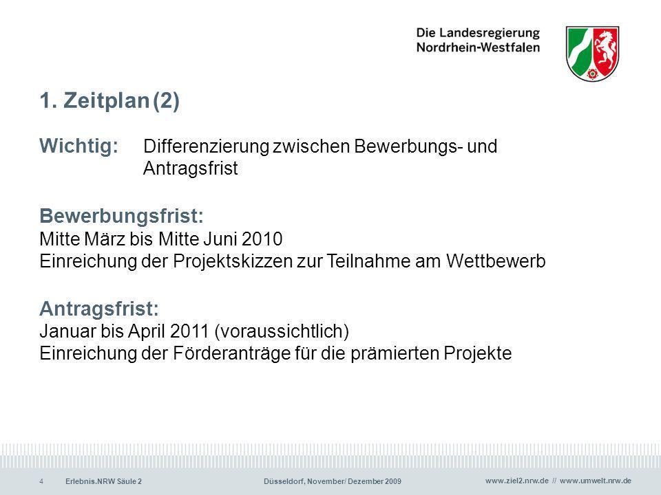 www.ziel2.nrw.de // www.umwelt.nrw.de Erlebnis.NRW Säule 2Düsseldorf, November/ Dezember 20094 1. Zeitplan (2) Wichtig: Differenzierung zwischen Bewer