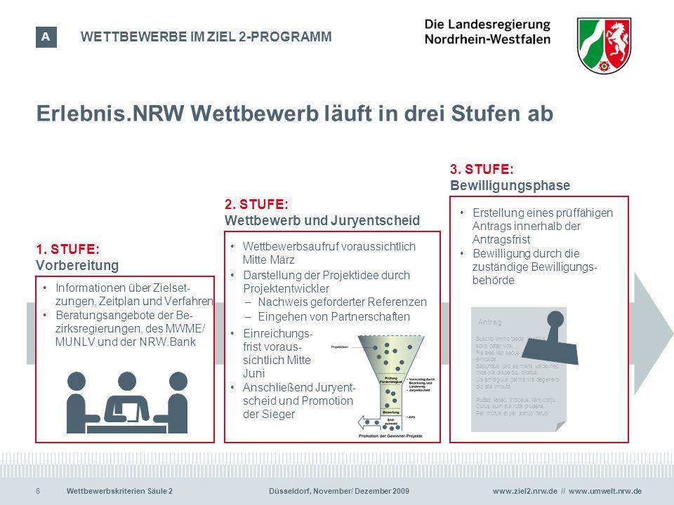 www.ziel2.nrw.de // www.umwelt.nrw.de6Wettbewerbskriterien Säule 2 Düsseldorf, November/ Dezember 2009 Erlebnis.NRW Wettbewerb läuft in drei Stufen ab 6 1.