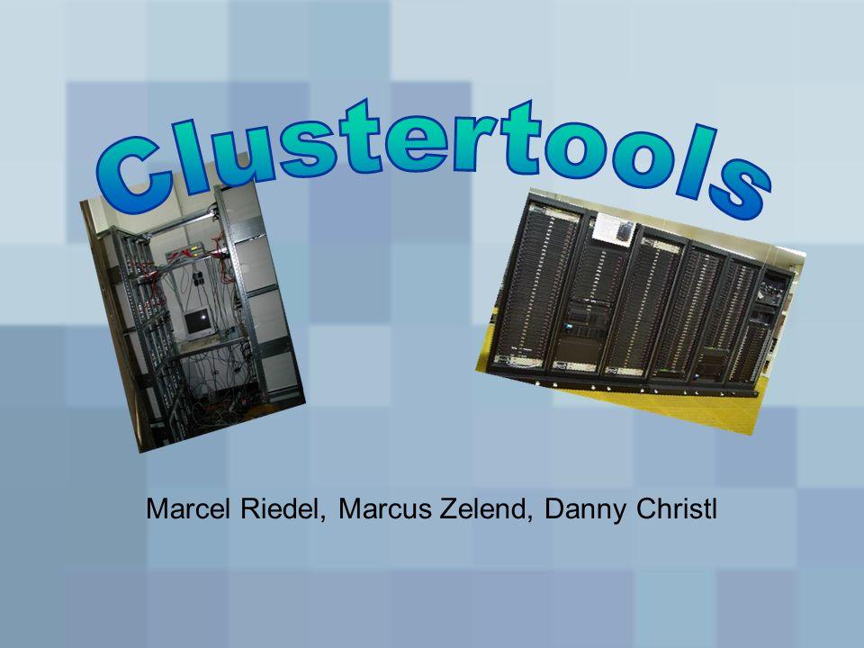 Softwarekonzept Clustertools übernehmen Verwaltung –Power-Management –Automatische Suche nach neuen Knoten –Job-Management, Batch-Queue-System –MPI-Implementierung