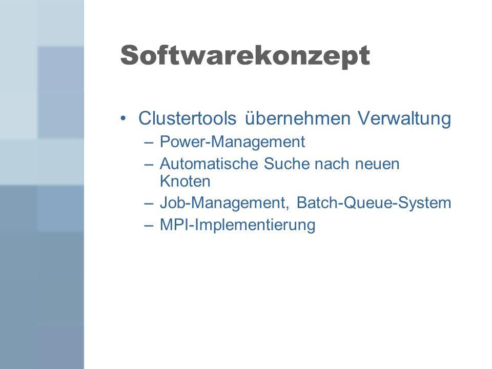Softwarekonzept Clustertools übernehmen Verwaltung –Power-Management –Automatische Suche nach neuen Knoten –Job-Management, Batch-Queue-System –MPI-Im