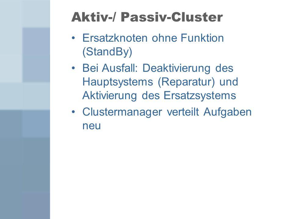 Aktiv-/ Passiv-Cluster Ersatzknoten ohne Funktion (StandBy) Bei Ausfall: Deaktivierung des Hauptsystems (Reparatur) und Aktivierung des Ersatzsystems