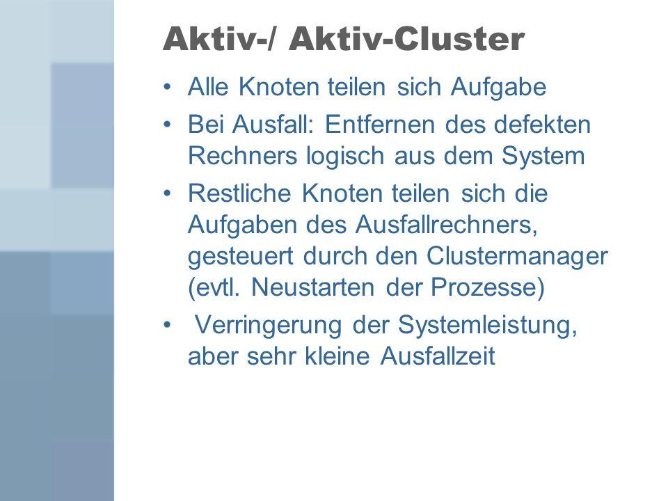 Aktiv-/ Aktiv-Cluster Alle Knoten teilen sich Aufgabe Bei Ausfall: Entfernen des defekten Rechners logisch aus dem System Restliche Knoten teilen sich