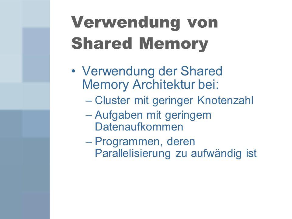 Verwendung von Shared Memory Verwendung der Shared Memory Architektur bei: –Cluster mit geringer Knotenzahl –Aufgaben mit geringem Datenaufkommen –Pro
