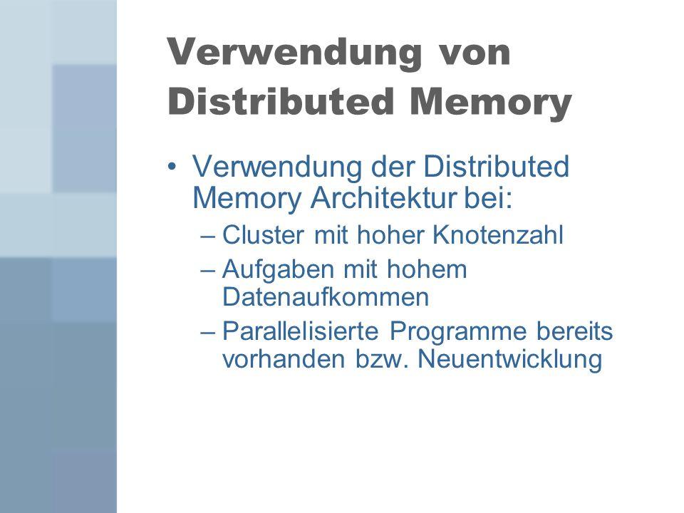 Verwendung von Distributed Memory Verwendung der Distributed Memory Architektur bei: –Cluster mit hoher Knotenzahl –Aufgaben mit hohem Datenaufkommen