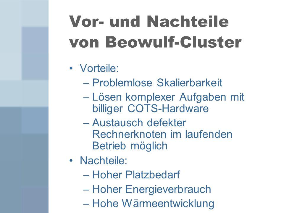 Vor- und Nachteile von Beowulf-Cluster Vorteile: –Problemlose Skalierbarkeit –Lösen komplexer Aufgaben mit billiger COTS-Hardware –Austausch defekter