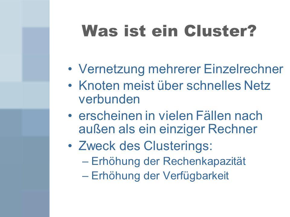 Hochverfügbarkeits- cluster (HA-Cluster) Stellen ständig Daten und Dienste zur Verfügung 2 Arten: Aktiv-/Aktiv-Cluster Aktiv-/Passiv-Cluster Festplatten – und Serverausfälle minimieren Zusätzliche Rechner im System Keine Verringerung der Systemleistung, dafür hohe Kosten und etwas längere Ausfallzeit