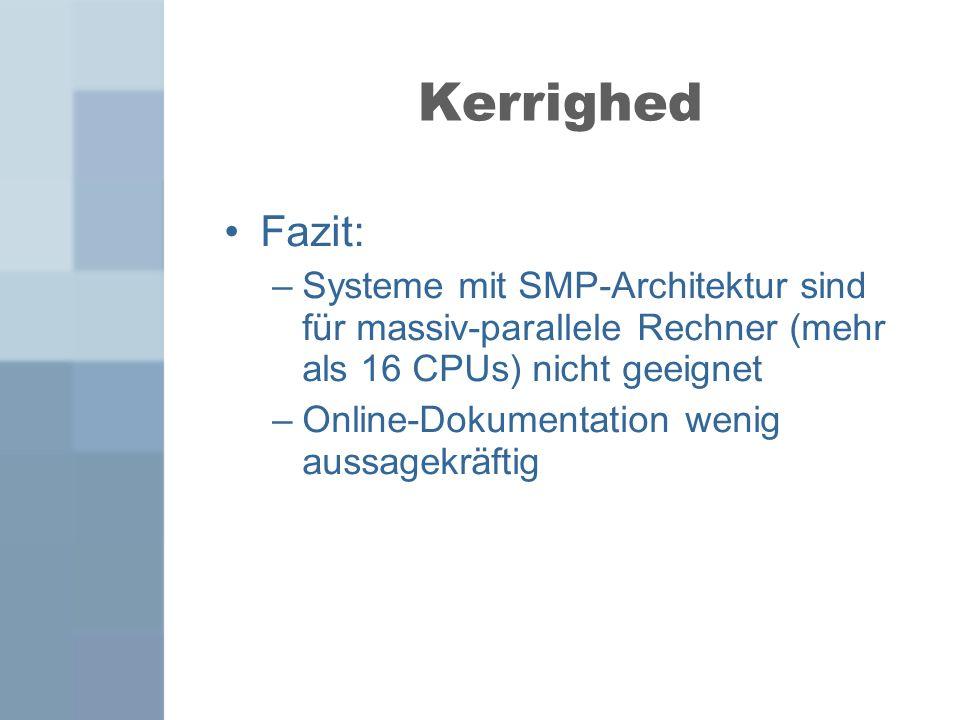 Fazit: –Systeme mit SMP-Architektur sind für massiv-parallele Rechner (mehr als 16 CPUs) nicht geeignet –Online-Dokumentation wenig aussagekräftig Ker