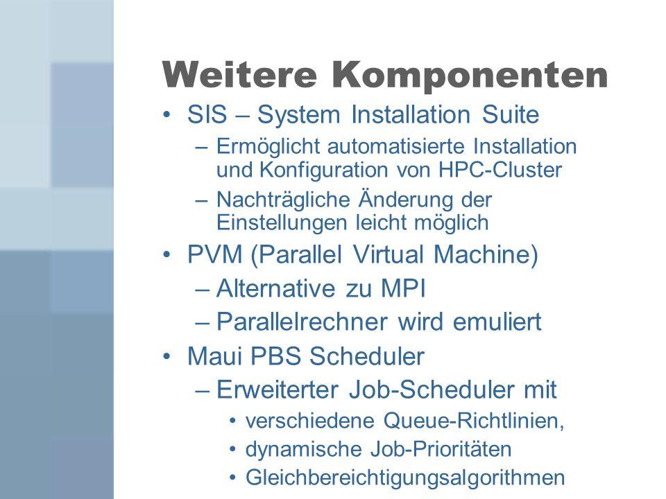 Weitere Komponenten SIS – System Installation Suite –Ermöglicht automatisierte Installation und Konfiguration von HPC-Cluster –Nachträgliche Änderung