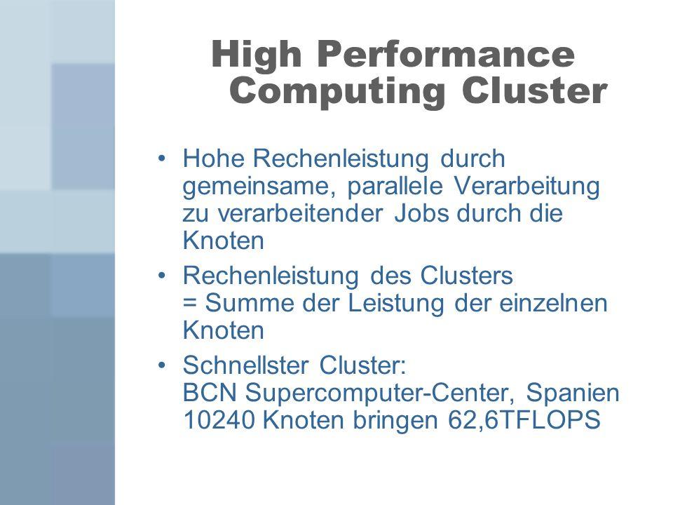 High Performance Computing Cluster Hohe Rechenleistung durch gemeinsame, parallele Verarbeitung zu verarbeitender Jobs durch die Knoten Rechenleistung