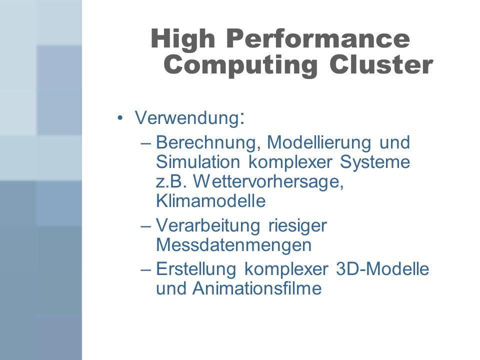 Hardwarekonzept Homogener Knotenaufbau Ein Master-Node und beliebig viele Compute-Nodes Distributed Memory-Architektur Einzelnen Knoten enthalten nur essentielle Komponenten Vernetzung über Hochgeschwindigkeitsnetz z.B.