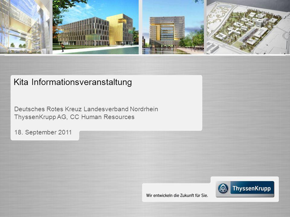 Wir entwickeln die Zukunft für Sie. Kita Informationsveranstaltung Deutsches Rotes Kreuz Landesverband Nordrhein ThyssenKrupp AG, CC Human Resources 1