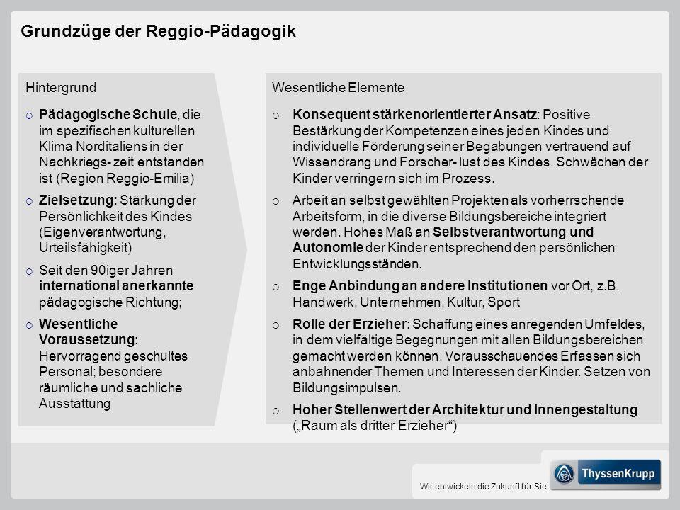 Wir entwickeln die Zukunft für Sie. Grundzüge der Reggio-Pädagogik Hintergrund Pädagogische Schule, die im spezifischen kulturellen Klima Norditaliens