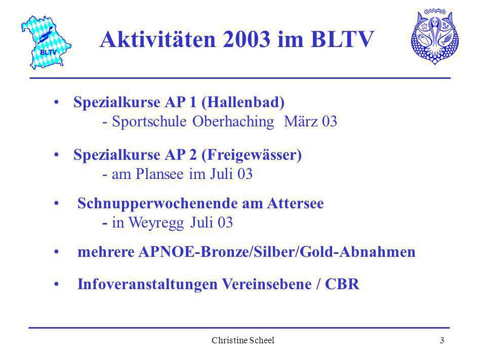 Christine Scheel3 Aktivitäten 2003 im BLTV Spezialkurse AP 1 (Hallenbad) - Sportschule Oberhaching März 03 Spezialkurse AP 2 (Freigewässer) - am Plans