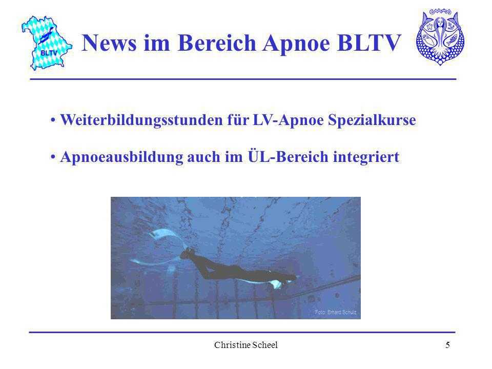 Christine Scheel5 News im Bereich Apnoe BLTV Weiterbildungsstunden für LV-Apnoe Spezialkurse Apnoeausbildung auch im ÜL-Bereich integriert Foto: Erhar