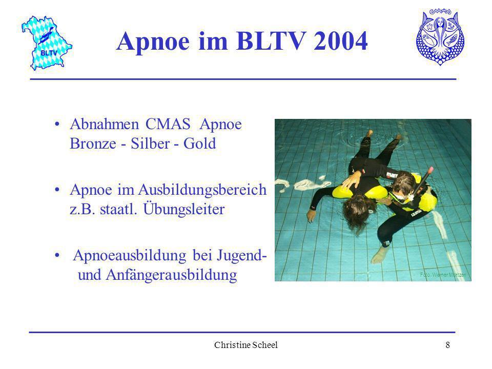 Christine Scheel8 Apnoe im BLTV 2004 Abnahmen CMAS Apnoe Bronze - Silber - Gold Apnoe im Ausbildungsbereich z.B. staatl. Übungsleiter Foto: Werner Mor