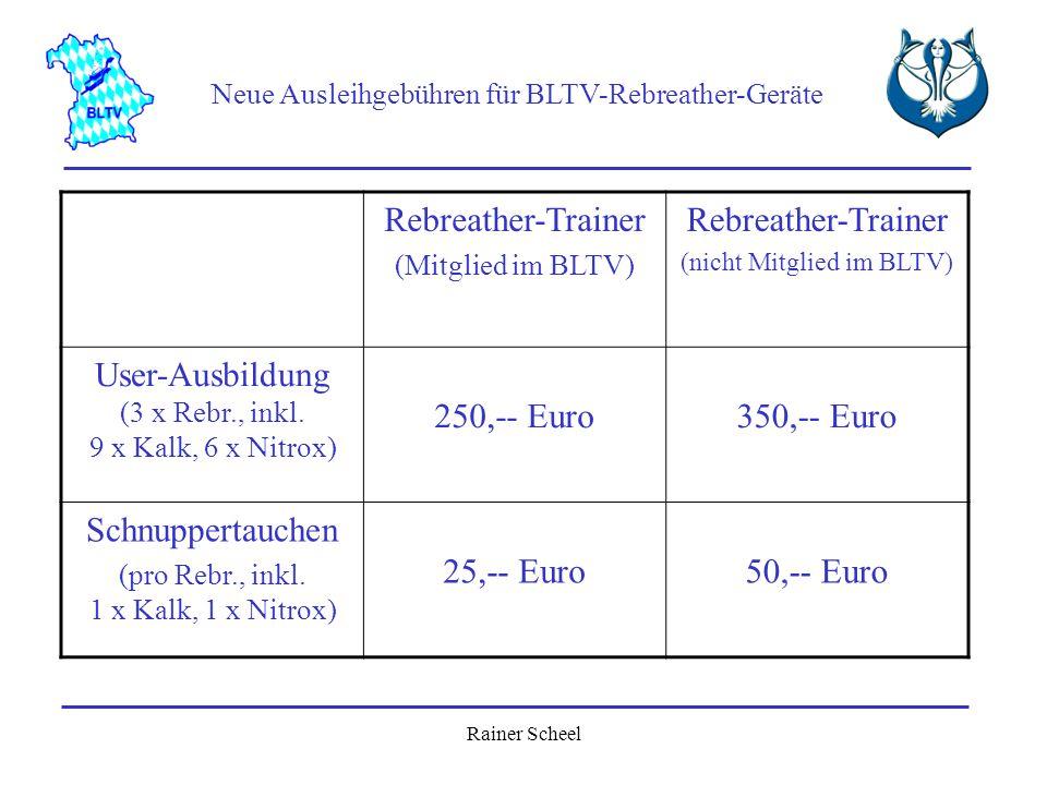 Rainer Scheel Neue Ausleihgebühren für BLTV-Rebreather-Geräte Rebreather-Trainer (Mitglied im BLTV) Rebreather-Trainer (nicht Mitglied im BLTV) User-A