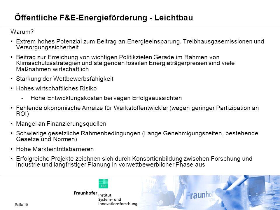 Seite 10 Öffentliche F&E-Energieförderung - Leichtbau Warum? Extrem hohes Potenzial zum Beitrag an Energieeinsparung, Treibhausgasemissionen und Verso