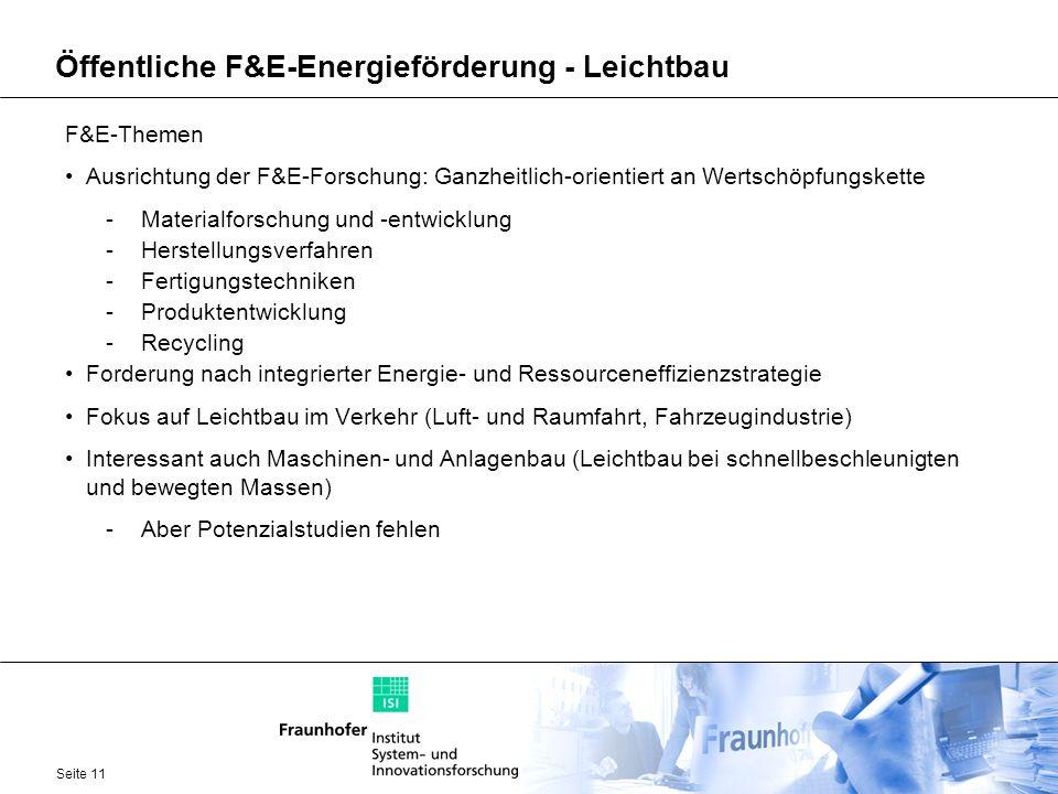 Seite 11 Öffentliche F&E-Energieförderung - Leichtbau F&E-Themen Ausrichtung der F&E-Forschung: Ganzheitlich-orientiert an Wertschöpfungskette -Materi