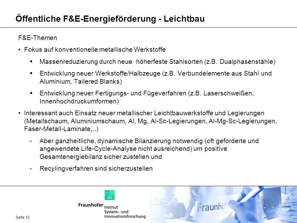 Seite 12 Öffentliche F&E-Energieförderung - Leichtbau F&E-Themen Fokus auf konventionelle metallische Werkstoffe Massenreduzierung durch neue höherfes