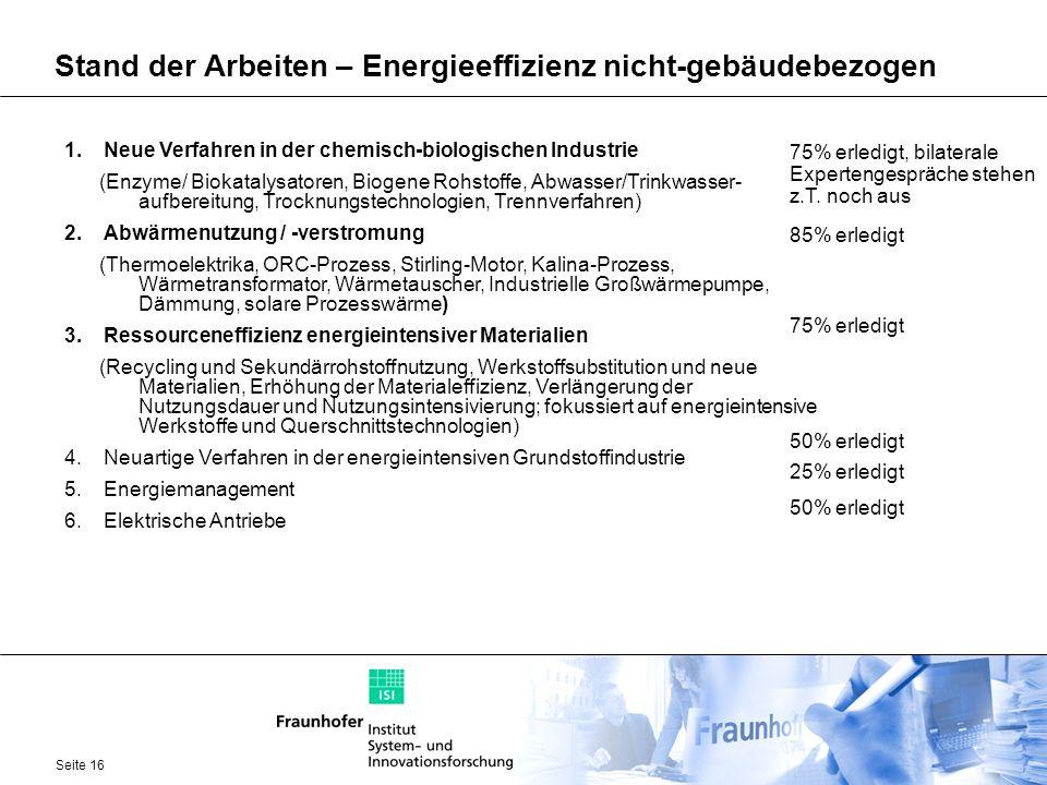 Seite 16 Stand der Arbeiten – Energieeffizienz nicht-gebäudebezogen 1.Neue Verfahren in der chemisch-biologischen Industrie (Enzyme/ Biokatalysatoren,