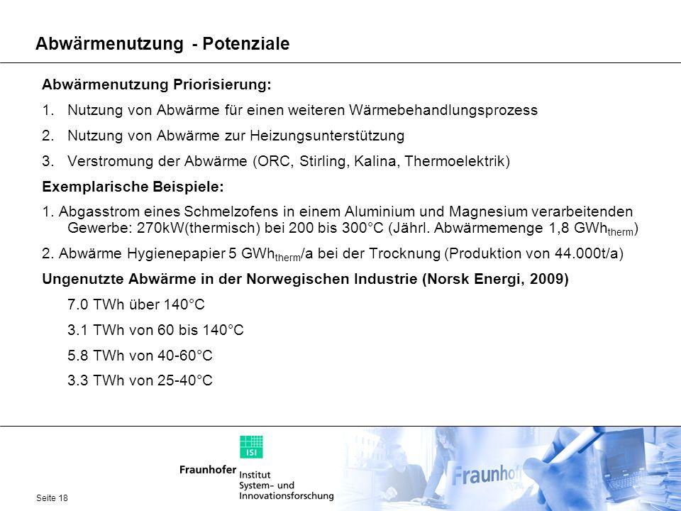 Seite 18 Abwärmenutzung - Potenziale Abwärmenutzung Priorisierung: 1.Nutzung von Abwärme für einen weiteren Wärmebehandlungsprozess 2.Nutzung von Abwä