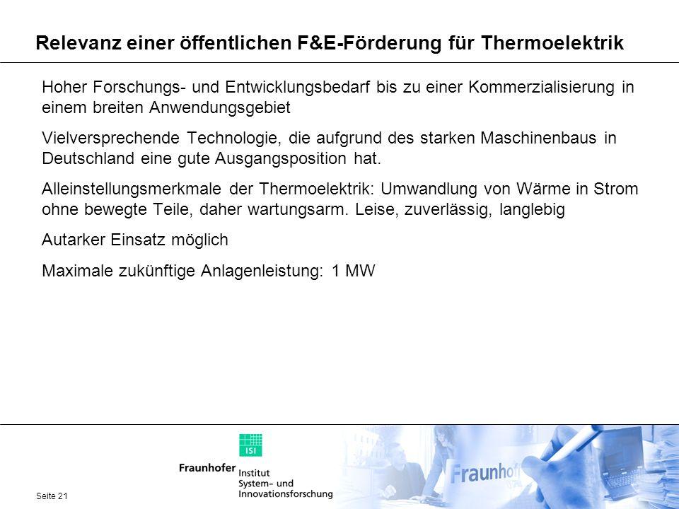 Seite 21 Relevanz einer öffentlichen F&E-Förderung für Thermoelektrik Hoher Forschungs- und Entwicklungsbedarf bis zu einer Kommerzialisierung in eine