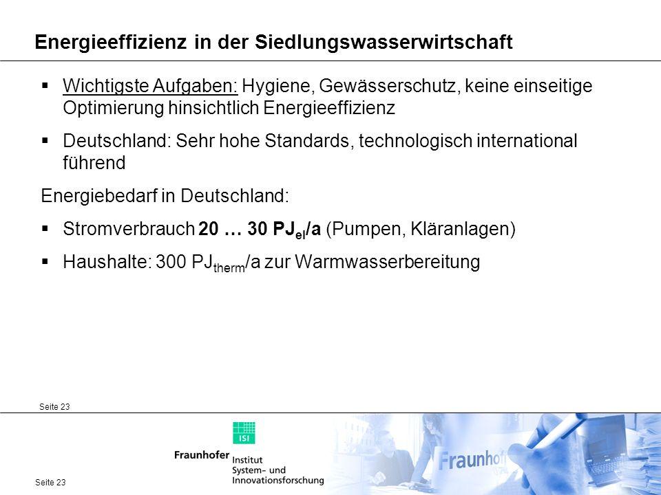 Seite 23 Energieeffizienz in der Siedlungswasserwirtschaft Wichtigste Aufgaben: Hygiene, Gewässerschutz, keine einseitige Optimierung hinsichtlich Ene