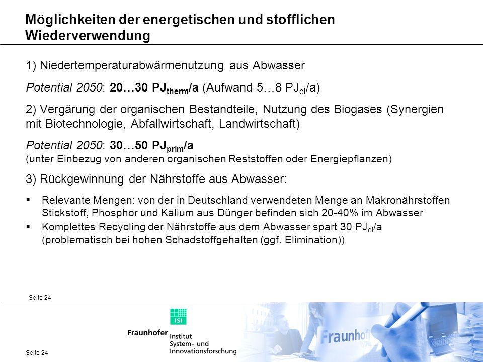 Seite 24 Möglichkeiten der energetischen und stofflichen Wiederverwendung 1) Niedertemperaturabwärmenutzung aus Abwasser Potential 2050: 20…30 PJ ther