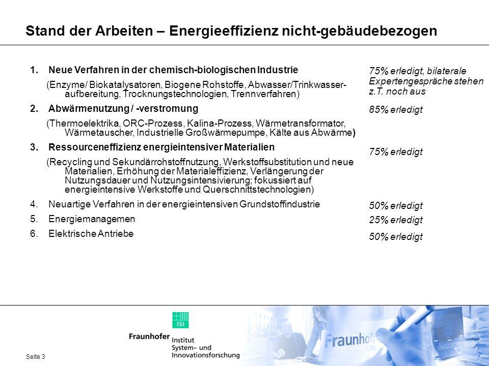 Seite 3 Stand der Arbeiten – Energieeffizienz nicht-gebäudebezogen 1.Neue Verfahren in der chemisch-biologischen Industrie (Enzyme/ Biokatalysatoren,