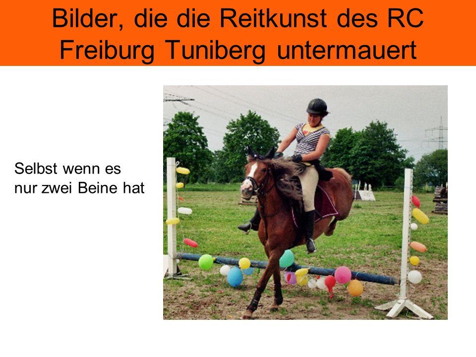 Bilder, die die Reitkunst des RC Freiburg Tuniberg untermauert Selbst wenn es nur zwei Beine hat