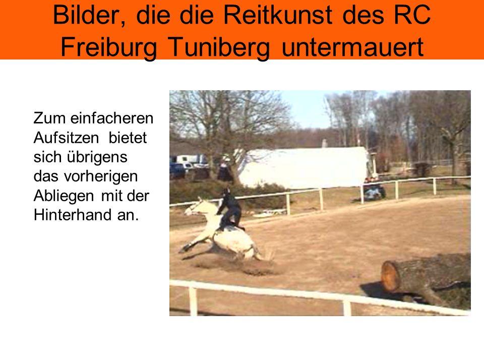Bilder, die die Reitkunst des RC Freiburg Tuniberg untermauert Zum einfacheren Aufsitzen bietet sich übrigens das vorherigen Abliegen mit der Hinterhand an.