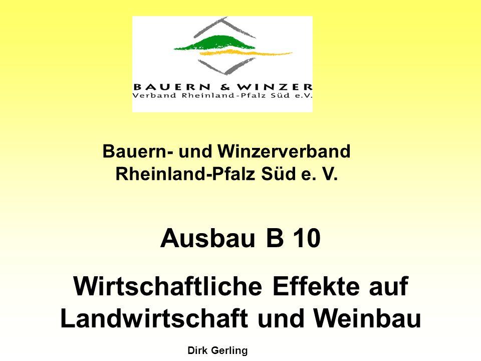 Ausbau B 10 Wirtschaftliche Effekte auf Landwirtschaft und Weinbau Bauern- und Winzerverband Rheinland-Pfalz Süd e.