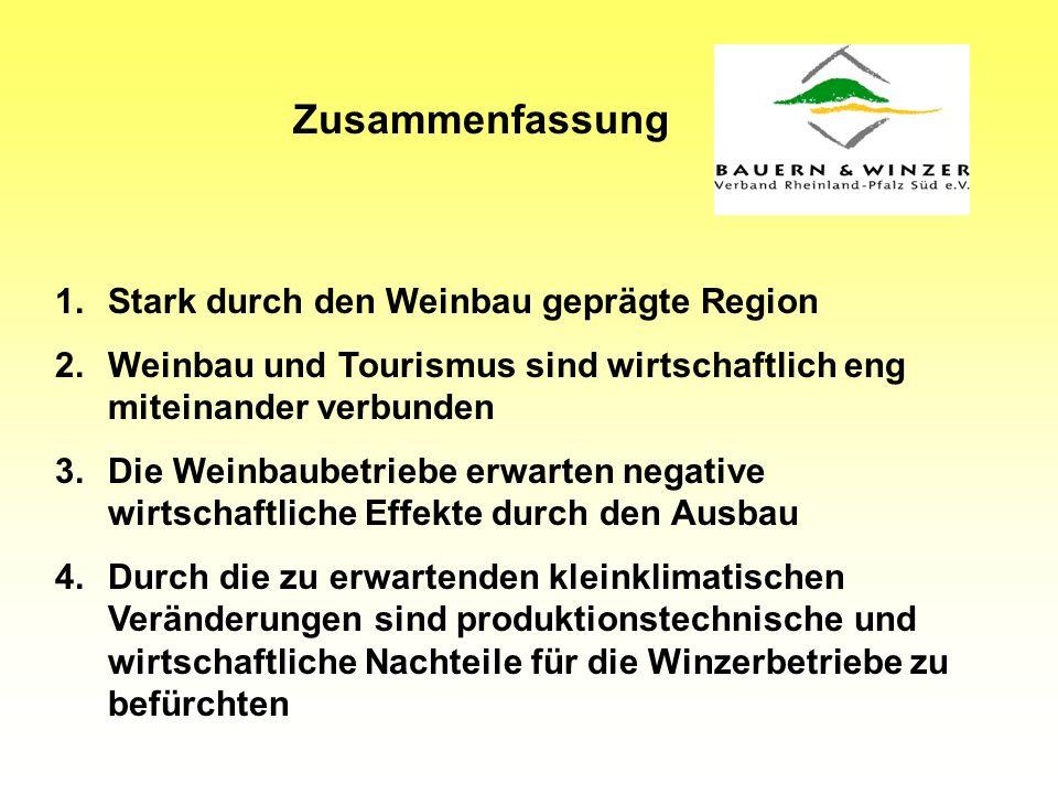 Zusammenfassung 1.Stark durch den Weinbau geprägte Region 2.Weinbau und Tourismus sind wirtschaftlich eng miteinander verbunden 3.Die Weinbaubetriebe erwarten negative wirtschaftliche Effekte durch den Ausbau 4.Durch die zu erwartenden kleinklimatischen Veränderungen sind produktionstechnische und wirtschaftliche Nachteile für die Winzerbetriebe zu befürchten