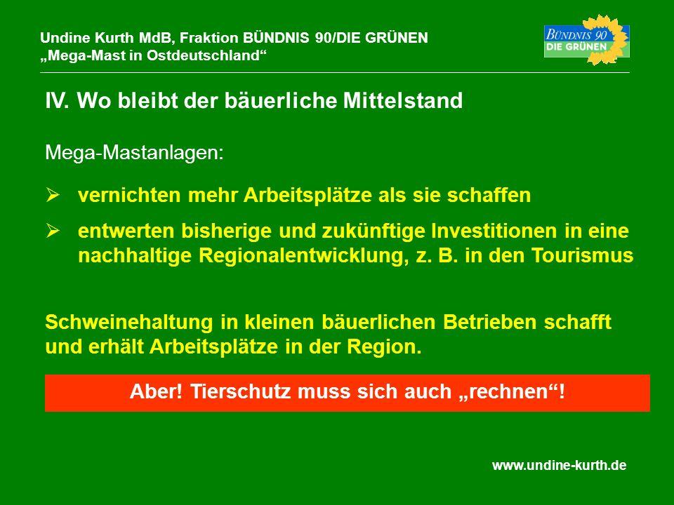 www.undine-kurth.de IV. Wo bleibt der bäuerliche Mittelstand Undine Kurth MdB, Fraktion BÜNDNIS 90/DIE GRÜNEN Mega-Mast in Ostdeutschland vernichten m