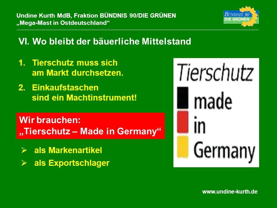 www.undine-kurth.de VI. Wo bleibt der bäuerliche Mittelstand Undine Kurth MdB, Fraktion BÜNDNIS 90/DIE GRÜNEN Mega-Mast in Ostdeutschland 1.Tierschutz