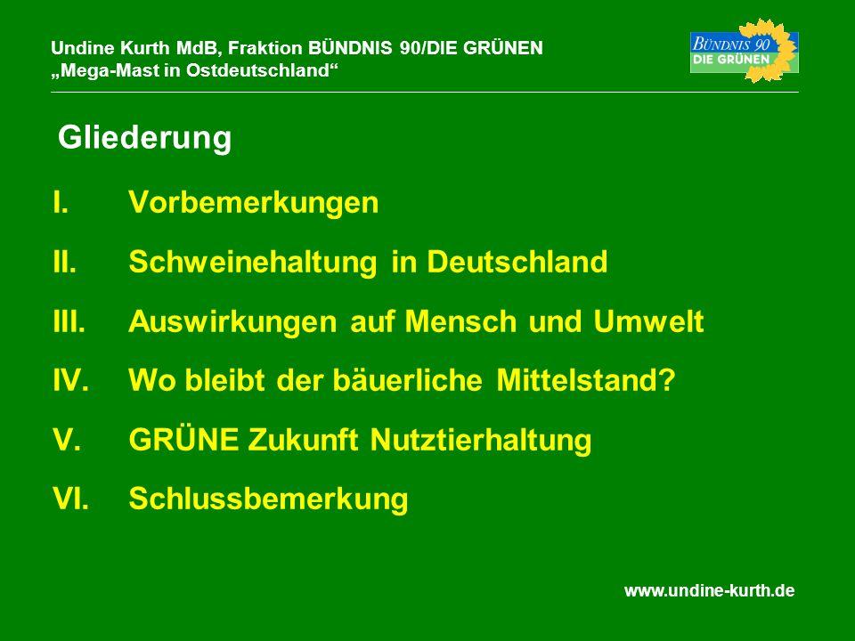 I. I.Vorbemerkungen II. II.Schweinehaltung in Deutschland III. III.Auswirkungen auf Mensch und Umwelt IV. IV.Wo bleibt der bäuerliche Mittelstand? V.