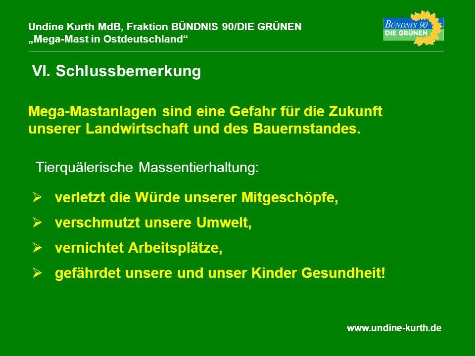 www.undine-kurth.de VI. Schlussbemerkung Undine Kurth MdB, Fraktion BÜNDNIS 90/DIE GRÜNEN Mega-Mast in Ostdeutschland verletzt die Würde unserer Mitge