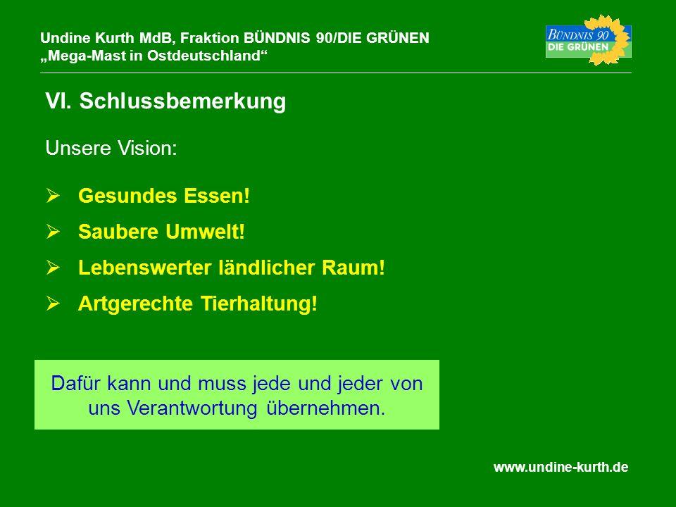www.undine-kurth.de VI. Schlussbemerkung Undine Kurth MdB, Fraktion BÜNDNIS 90/DIE GRÜNEN Mega-Mast in Ostdeutschland Gesundes Essen! Saubere Umwelt!