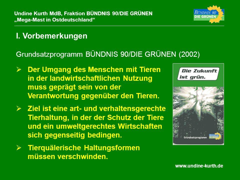 www.undine-kurth.de I. Vorbemerkungen Undine Kurth MdB, Fraktion BÜNDNIS 90/DIE GRÜNEN Mega-Mast in Ostdeutschland Der Umgang des Menschen mit Tieren