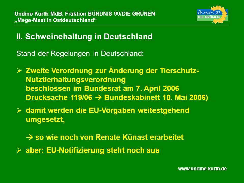 www.undine-kurth.de II. Schweinehaltung in Deutschland Undine Kurth MdB, Fraktion BÜNDNIS 90/DIE GRÜNEN Mega-Mast in Ostdeutschland Zweite Verordnung