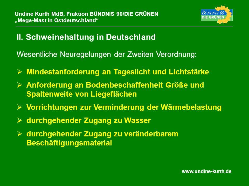 www.undine-kurth.de II. Schweinehaltung in Deutschland Undine Kurth MdB, Fraktion BÜNDNIS 90/DIE GRÜNEN Mega-Mast in Ostdeutschland Mindestanforderung