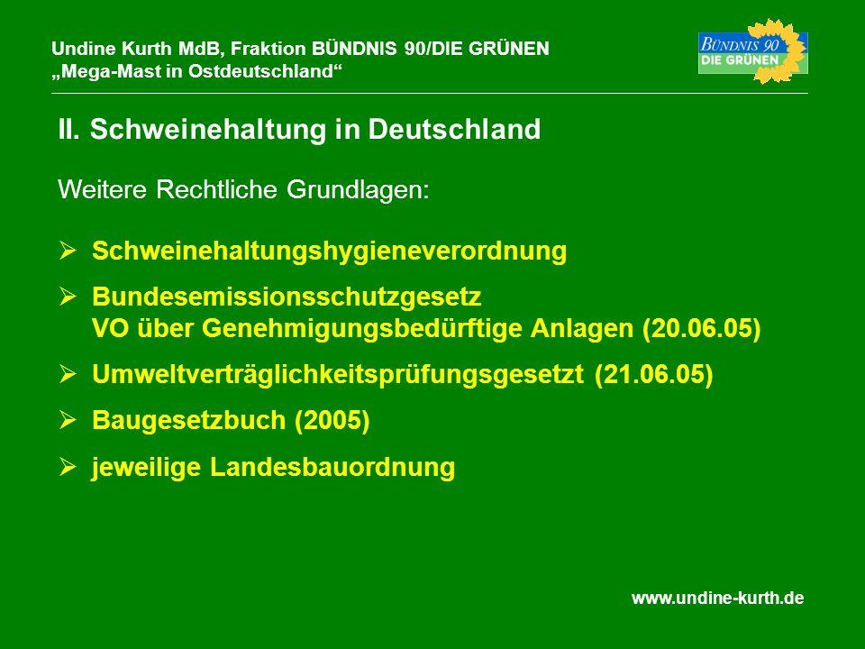 www.undine-kurth.de II. Schweinehaltung in Deutschland Undine Kurth MdB, Fraktion BÜNDNIS 90/DIE GRÜNEN Mega-Mast in Ostdeutschland Schweinehaltungshy