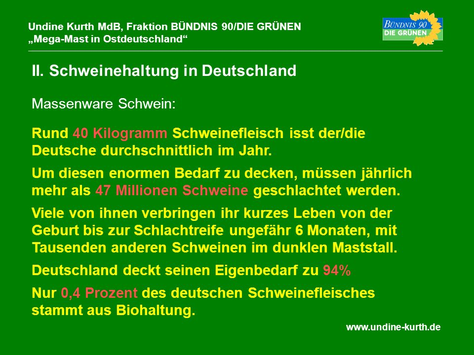 www.undine-kurth.de II. Schweinehaltung in Deutschland Undine Kurth MdB, Fraktion BÜNDNIS 90/DIE GRÜNEN Mega-Mast in Ostdeutschland Rund 40 Kilogramm